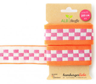Jacquard-Streifen Band - Stripe me - Icon - Check Point - XXL - Hamburger Liebe - Orange/Rosa