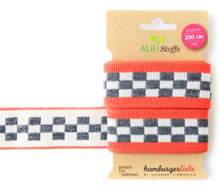 Jacquard-Streifen Band - Stripe me - Icon - Check Point - XXL - Hamburger Liebe - Orange/Grau