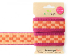 Jacquard-Streifenband - Stripe me - Icon - Check Point - XXL - Hamburger Liebe - Pink/Orange