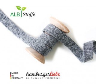 Hoodiekordel - Flachkordel - Cord me - Melange - 12mm - Check Point - Hamburger Liebe - Anthrazit