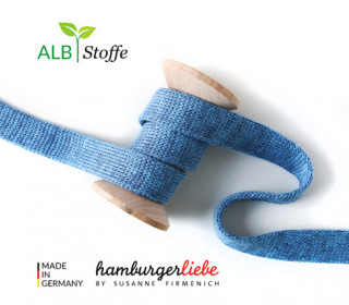 Hoodiekordel - Flachkordel - Cord me - Melange - 12mm - Check Point - Hamburger Liebe - Blau