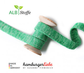 Hoodiekordel - Flachkordel - Cord me - Melange - 12mm - Check Point - Hamburger Liebe - Grün