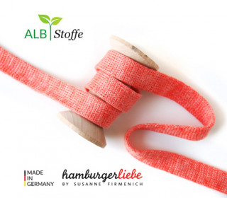 Hoodiekordel - Flachkordel - Cord me - Melange - 20mm - Check Point - XXL - Hamburger Liebe - Korallenrot