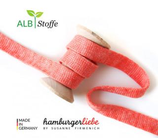 Hoodiekordel - Flachkordel - Cord me - Melange - 12mm - Check Point - Hamburger Liebe - Korallenrot