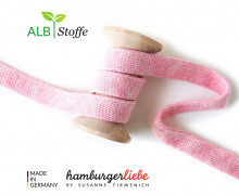 Hoodiekordel - Flachkordel - Cord me - Melange - 20mm - Check Point - XXL - Hamburger Liebe - Rosa