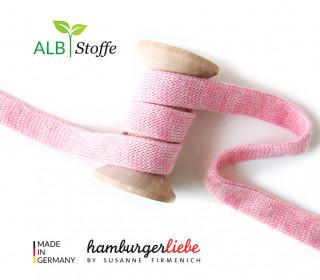 Hoodiekordel - Flachkordel - Cord me - Melange - 12mm - Check Point - Hamburger Liebe - Rosa