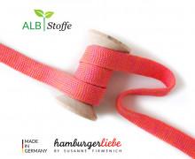 Hoodiekordel - Flachkordel - Cord me - Melange - 12mm - Check Point - Hamburger Liebe - Pink/Orange