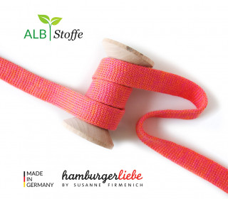 Hoodiekordel - Flachkordel - Cord me - Melange - 12mm - Check Point - Hamburger Liebe - Rot