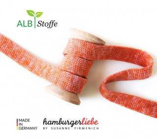 Hoodiekordel - Flachkordel - Cord me - Melange - 20mm - Check Point - XXL - Hamburger Liebe - Rotorange