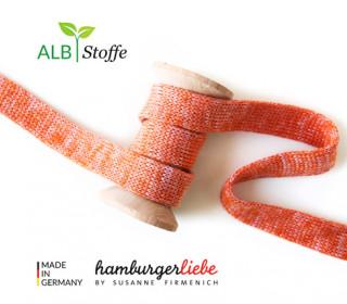 Hoodiekordel - Flachkordel - Cord me - Melange - 12mm - Check Point - Hamburger Liebe - Rotorange