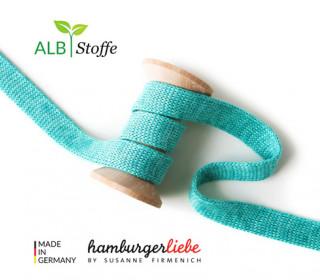 Hoodiekordel - Flachkordel - Cord me - Melange - 12mm - Check Point - Hamburger Liebe - Türkis