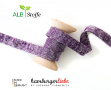 Hoodiekordel - Flachkordel - Cord me - Melange - 12mm - Check Point - Hamburger Liebe - Violett