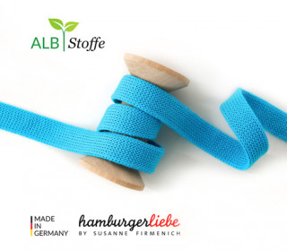 Hoodiekordel - Flachkordel - Cord me - Uni - 12mm - Check Point - Hamburger Liebe - Cyanblau