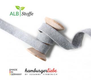 Hoodiekordel - Flachkordel - Cord me - Uni - 20mm - Check Point - XXL - Hamburger Liebe - Hellgrau