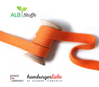 Hoodiekordel - Flachkordel - Cord me - Uni - 12mm - Check Point - Hamburger Liebe - Orange