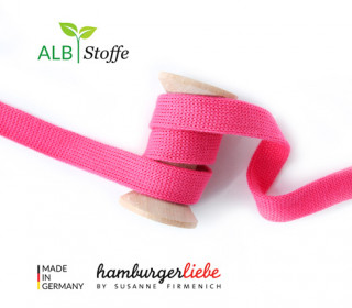 Hoodiekordel - Flachkordel - Cord me - Uni - 12mm - Check Point - Hamburger Liebe - Rosa