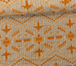 Bio-Jacquard - 3D - Knit Knit Snowflake - Check Point - Hamburger Liebe - Beige
