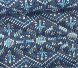 Bio-Jacquard - 3D - Knit Knit Snowflake - Check Point - Hamburger Liebe - Blau