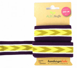 Jacquard-Streifen Band - Stripe me - Icon - Check Point - XXL - Hamburger Liebe - Violett/Gelb