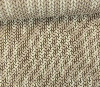 Bio-Jacquard - 3D - Big Knit Check List - Check Point - Hamburger Liebe - Beige/Hellbraun