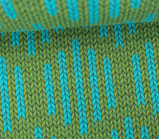 Bio-Jacquard - 3D - Big Knit Check List - Check Point - Hamburger Liebe - Grün/Cyan
