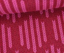 Bio-Jacquard - 3D - Big Knit Check List - Check Point - Hamburger Liebe - Rot/Pink