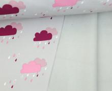Softshell - Fleece - Wolken - Rainy Days - Hellgrau/Beere