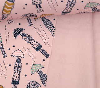Softshell - Fleece - Umbrella Girl - Rainy Days - Rosa