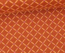 Bio-Jacquard - Fish Net - Check Point - Glitzer - Hamburger Liebe - Orangebraun