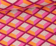 Bio-Jacquard - Honey Comb - Check Point - Hamburger Liebe - Pink/Orange