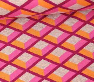 Bio-Jacquard - Honey Comb - Check Point - Hamburger Liebe - Pink/Orange