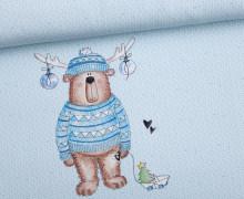 Sommersweat - Bio Qualität - Paneel - Kleiner Weihnachtsbär - Weihnachten - Strickoptik - Hellblau - Treeebird - abby and me