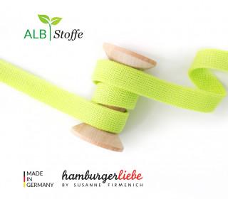 Hoodiekordel - Flachkordel - Cord me - Melange - 20mm - Check Point - XXL - Hamburger Liebe - Gelbgrün