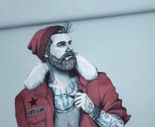 Sommersweat - Bio Qualität - Paneel - Winter Hipster - Weihnachten - Hellblau - Thorsten Berger - abby and me