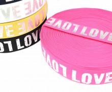 1m Gummiband - elastisch - glänzend - Love - 40mm - Silber/Pink