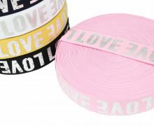 1m Gummiband - elastisch - glänzend - Love - 40mm - Silber/Rosa