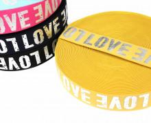 1m Gummiband - elastisch - glänzend - Love - 40mm - Silber/Gelb