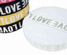 1m Gummiband - elastisch - glänzend - Love - 40mm - Silber/Weiß