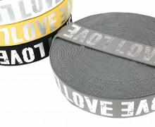 1m Gummiband - elastisch - glänzend - Love - 40mm - Silber/Grau