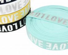 1m Gummiband - elastisch - glänzend - Love - 40mm - Silber/Mintblau