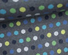 Bio-Jacquard - Mellow Dots - Punkte - Grün/Blau - Dunkelgrau