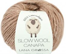 1 extrafeine Merinowolle - Slow Wool Canapa - 100m - Lana Grossa - Hellbraun Meliert (002)