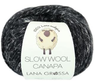 1 extrafeine Merinowolle - Slow Wool Canapa - 100m - Lana Grossa - Schwarz Meliert (007)