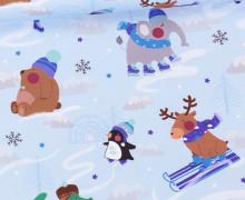 Jersey - Bio Qualität - Kleine Schneefreunde - Winter - Strickoptik - Hellblau - abby and me