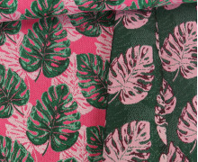 Dekostoff -  Doubleface - Monstera - Hanoi - Pink/Dunkelgrün