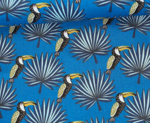 Stoff - Tukan - Vogel - Palmenwedel - Mambo - Blau