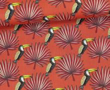 Stoff - Tukan - Vogel - Palmenwedel - Mambo - Orangerot
