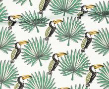 Stoff - Tukan - Vogel - Palmenwedel - Mambo - Weiß