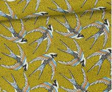 Stoff - Schwalben - Vogel - Birds - Envol - Senfgelb