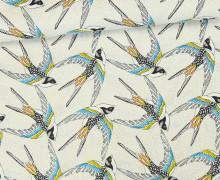 Stoff - Schwalben - Vogel - Birds - Envol - Cremeweiß